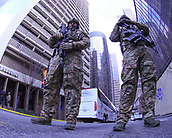 January 29th 2019, Atlanta, Georgia, USA;  Department of Homeland Security Agents guard the street behind the New England Patriots Hotel after the New England Patriots Super Bowl LIII Press Conference on January 29, 2019 at the Hyatt Regency Atlanta, in Atlanta GA.