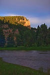 The last of the days sunlight leaves the cliffs above the Smith River in Montana