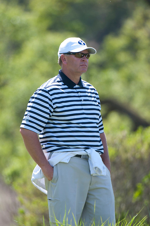 April 18, 2012; Hollister, CA, USA; BYU Cougars men's golf coach Bruce Brockbank during the WCC Golf Championships at San Juan Oaks Golf Club.