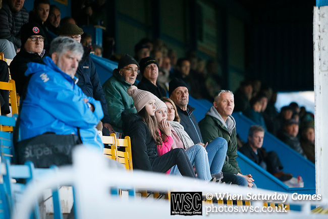 Stocksbridge fans in the Jamie Vardy Stand. Stocksbridge Park Steels v Pickering Town,  Evo-Stik East Division, 17th November 2018. Stocksbridge Park Steels were born from the works team of the local British Steel plant that dominates the town north of Sheffield.<br />