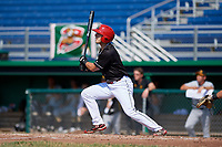 Batavia Muckdogs left fielder Michael Donadio (7) flies out during a game against the West Virginia Black Bears on July 1, 2018 at Dwyer Stadium in Batavia, New York.  Batavia defeated West Virginia 8-4.  (Mike Janes/Four Seam Images)