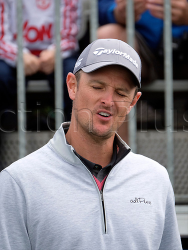 July 5th 2017, Portstewart Golf Club, Portstewart, Northern Ireland; Dubai Duty Free Irish Open Golf Championship; Pro-Am Tournament;  Justin Rose (ENG) reacts after a poor shot from one of his team mates