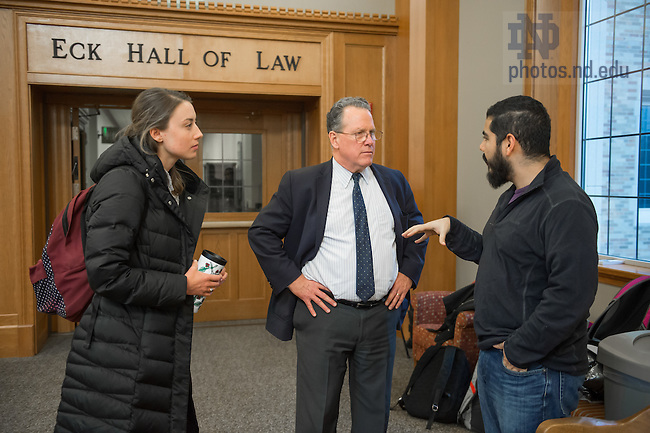 "January 26, 2017; Ambassador David Robinson, Assistant Secretary and Coordinator for Reconstruction and Stabilization Bureau of Conflict and Stabilization Operations, U.S. Department of State, chats with law school students after his address on ""American Leadership in the 21st Century."" (Photo by Barbara Johnston/University of Notre Dame)"