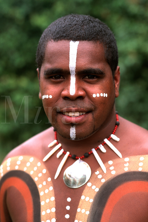 Body Painted Tjappukai  Aboriginals in Cairns Australia Queensland