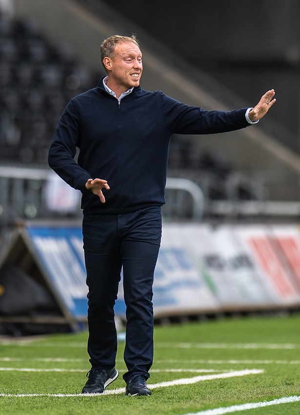 Swansea City manager Steve Cooper shouts instructions to his team from the technical area <br /> <br /> Photographer David Horton/CameraSport<br /> <br /> The EFL Sky Bet Championship - Swansea City v Bristol City- Saturday 18th July 2020 - Liberty Stadium - Swansea<br /> <br /> World Copyright © 2019 CameraSport. All rights reserved. 43 Linden Ave. Countesthorpe. Leicester. England. LE8 5PG - Tel: +44 (0) 116 277 4147 - admin@camerasport.com - www.camerasport.com