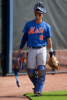 GCL Mets catcher Juan Loyo (9) before a Gulf Coast League game against the GCL Astros on August 10, 2019 at FITTEAM Ballpark of the Palm Beaches Training Complex in Palm Beach, Florida.  GCL Astros defeated the GCL Mets 8-6.  (Mike Janes/Four Seam Images)