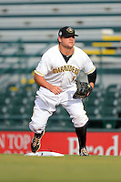 Bradenton Marauders first baseman Stetson Allie (31) during a game against the Lakeland Flying Tigers July 22, 2013 at McKechnie Field in Bradenton, Florida.  Bradenton defeated Lakeland 9-5.  (Mike Janes/Four Seam Images)