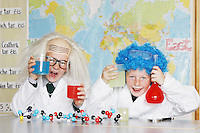 8/6/2010    ****NO FEE PHOTOS ***********.Conor Darcy (Blue Wig) (10) Josh Breslin (Bald wig) (12) of St. Laurence O'Tooles CBS Dublin, pictured at Discover Science and Engineering's 2010 Awards of Science and Maths Excellence. Part of the Discover Primary Science programme, the awards acknowledge the efforts of primary school children and teachers who have demonstrated an increased knowledge and application of science and maths. This year 493 schools from across the country received an Award of Science and Maths Excellence..Pic James Horan / Collins Photos . .