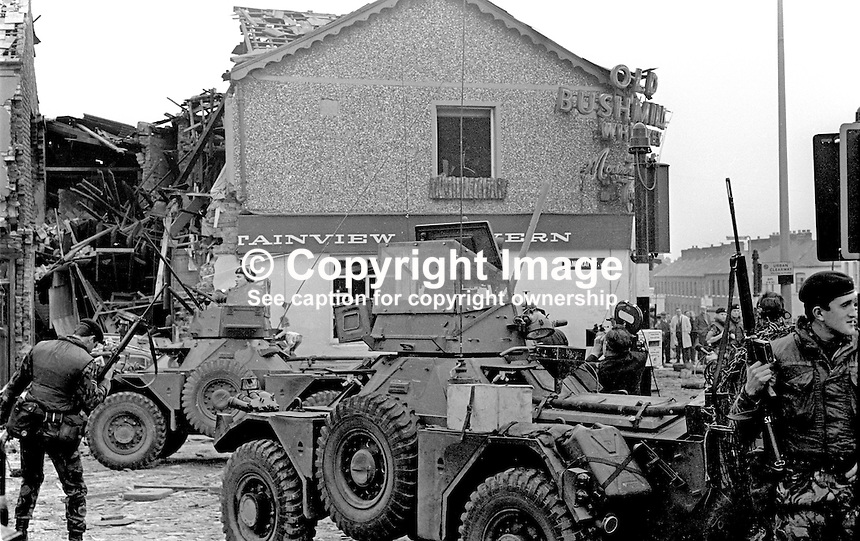 British Army soldiers at Mountainview Tavern at junction of Cambrai Street and Woodvale Road following Provisional IRA bomb on 24th May 1971. There were no fatalities. 197105240207b<br /> <br /> Copyright Image from Victor Patterson, 54 Dorchester Park, Belfast, UK, BT9 6RJ<br /> <br /> Tel: +44 28 9066 1296<br /> Mob: +44 7802 353836<br /> Voicemail +44 20 8816 7153<br /> Skype: victorpattersonbelfast<br /> Email: victor@victorpatterson.com<br /> Email: victorpatterson@me.com (back-up)<br /> <br /> IMPORTANT: If you wish to use this image or any other of my images please go to www.victorpatterson.com and click on the Terms &amp; Conditions. Then contact me by email or phone with the reference number(s) of the image(s) concerned.