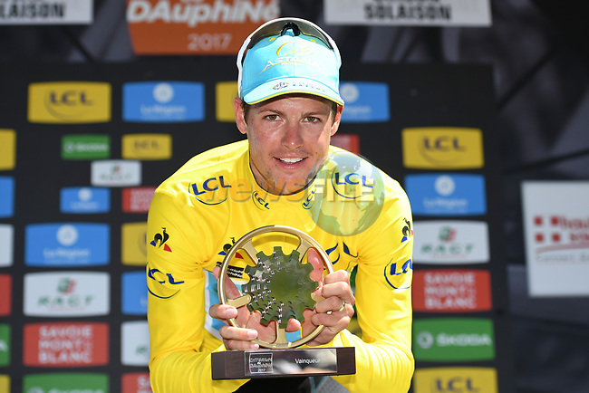Jakob Fuglsang (DEN) Astana Pro Team wins Stage 8 and the overall general classification of the Criterium du Dauphine 2017, running 115km from Albertville to Plateau de Solaison, France. 11th June 2017. <br /> Picture: ASO/A.Broadway | Cyclefile<br /> <br /> <br /> All photos usage must carry mandatory copyright credit (&copy; Cyclefile | ASO/A.Broadway)