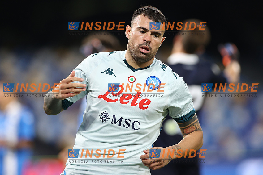Andrea Petagna of SSC Napoli celebrates after scoring a goal<br /> during the friendly football match between SSC Napoli and Pescara Calcio 1936 at stadio San Paolo in Napoli, Italy, September 11, 2020. <br /> Photo Cesare Purini / Insidefoto