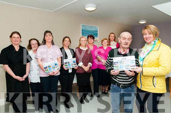 Calendar Launch: Gerry Ryan & Eily Walsh launching the Aras Mhuire , Listowel callendar at the Centre on Thursday last. Back: Geraldine Clancy McElligott, Anne Marie Dillon, Anne Kelly, Kay Bryant, Trish Joy, Kathleen Hartnett, Helen McCarthy & Tyna Breen.