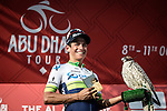 Esteban Chavez (COL) Orica GreenEdge with his new feathered friend on the podium after winning Stage 3, The Al Ain Stage, of the 2015 Abu Dhabi Tour starting from the Al Qattara Souq in Al Ain and running 129 km to the mountain top finish at Jebel Hafeet at 1025 metres, Abu Dhabi. 10th October 2015.<br /> Picture: ANSA/Angelo Carconi | Newsfile