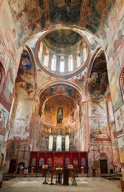 Pictures & images of the Byzantine mosaics and frescoes in the interior of the Gelati Georgian Orthodox Church of the Virgin, 1106. The medieval Gelati monastic complex near Kutaisi in the Imereti region of western Georgia (country). A UNESCO World Heritage Site.