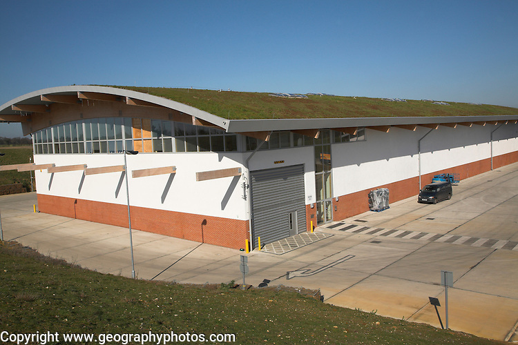 Adnams brewers new distribution centre with grass roof and environmentally friendly landscaping Reydon, near Southwold, Suffolk, England