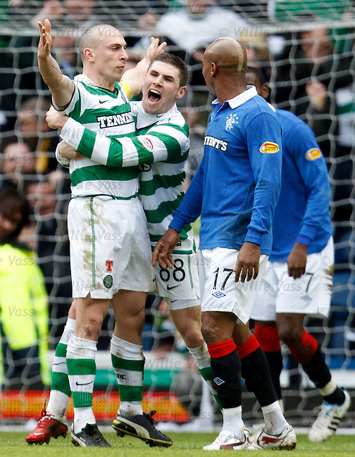 Scott Brown celebrates his goal with Gary Hooper