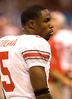 Chimdi Chekwa of Ohio State is pictured during warmups before the game against Arkansas during 77th Annual Allstate Sugar Bowl Classic at Louisiana Superdome in New Orleans, Louisiana on January 4th, 2011.  Ohio State defeated Arkansas, 31-26.