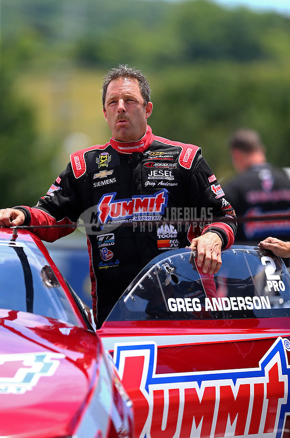 Jun 19, 2016; Bristol, TN, USA; NHRA pro stock driver Greg Anderson during the Thunder Valley Nationals at Bristol Dragway. Mandatory Credit: Mark J. Rebilas-USA TODAY Sports