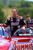 Jun 19, 2016; Bristol, TN, USA; NHRA pro stock driver Greg Anderson during the Thunder Valley Nationals at Bristol Dragway. Mandatory Credit: Mark J. Rebilas-USA TODAY Sports