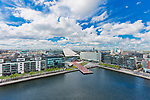 The Grand Canal Docks, an enclosed harbour where the Grand Canal comes to the River Liffey.