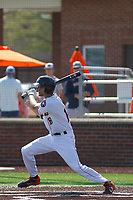 Buies Creek Astros infielder Stijn Van Der Meer (18) at bat during a game against the Winston-Salem Dash at Jim Perry Stadium on the campus of Campbell University on April 9, 2017 in Buies Creek, North Carolina. Buies Creek defeated Winston-Salem 2-0. (Robert Gurganus/Four Seam Images)