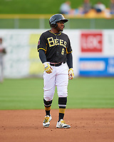 Eric Young Jr. (8) of the Salt Lake Bees takes a lead at second base against the Fresno Grizzlies during the Pacific Coast League game at Smith's Ballpark on April 17, 2017 in Salt Lake City, Utah. The Bees defeated the Grizzlies 6-2. (Stephen Smith/Four Seam Images)