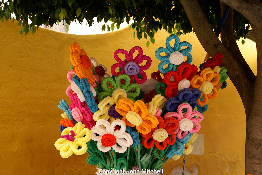 Artificial flowers in San Miguel de Allende, Mexico