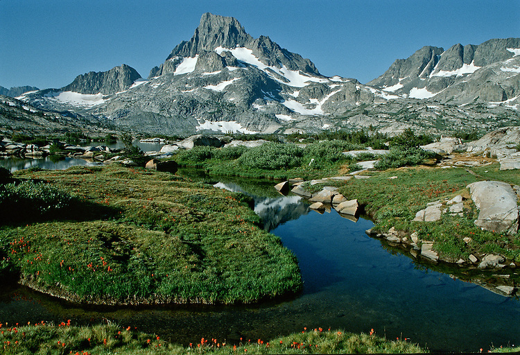 Thousand Islands Lake is located in the Ansel Adams Wilderness. Mt Banner looms above the lake basin.