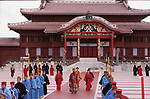 FILE PHOTO : An view of Main hall (Seiden) of the Shuri Castle (Shurijo) during Shuri Castle Festival in Naha, Okinawa, Japan on Undated day. A fire broke out at the World Heritage listed site on the morning of October 31, 2019.  (Photo by Hiroyuki Ozawa/AFLO)