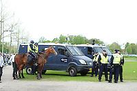 VOETBAL: HEERENVEEN: Abe Lenstra Stadion, SC Heerenveen - Feyenoord, 06-05-2012, ME (Mobiele Eenheid), politie te paard, ordehandhaving, Eindstand 2-3, ©foto Martin de Jong