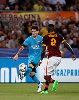 Calcio, Champions League, Gruppo E: Roma vs Barcellona. Roma, stadio Olimpico, 16 settembre 2015.<br /> FC Barcelona's Lionel Messi, left, is challenged by Roma's Antonio Ruediger during a Champions League, Group E football match between Roma and FC Barcelona, at Rome's Olympic stadium, 16 September 2015.<br /> UPDATE IMAGES PRESS/Isabella Bonotto