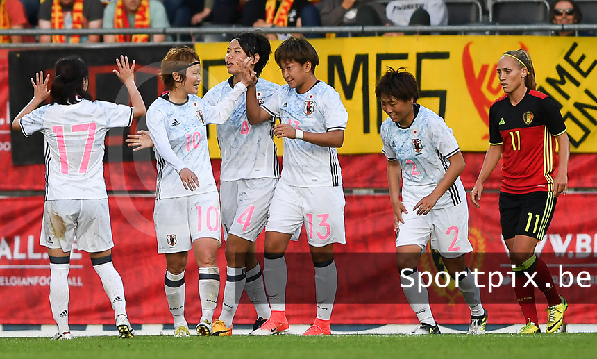 20170613 - LEUVEN ,  BELGIUM : Japanese team pictured celebrating their 0-1 lead after a goal from Japanese Yuika Sugasawa (13) during the friendly female soccer game between the Belgian Red Flames and JAPAN , a friendly game in the preparation for the European Championship in The Netherlands 2017  , Tuesday 13 th June 2017 at Stadion Den Dreef  in Leuven , Belgium. PHOTO SPORTPIX.BE | DAVID CATRY