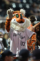 Lakeland Flying Tigers mascot during a game against the Tampa Yankees on April 5, 2014 at Joker Marchant Stadium in Lakeland, Florida.  Lakeland defeated Tampa 3-0.  (Mike Janes/Four Seam Images)