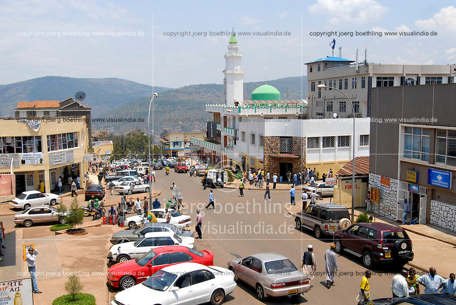 Rwanda Kigali , business offices and mosque in center /Ruanda Kigali , Geschaefte und Moschee im Stadtzentrum