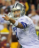 Dallas Cowboys quarterback Tony Romo (9) calls signals against the Washington Redskins at FedEx Field in Landover, Maryland on Sunday, September 12, 2010. The Redskins won the game 13 - 7..Credit: Ron Sachs / CNP
