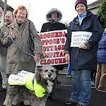 Deidre Smith and jasper, Lucita Shorter and Liz Doran pictured at the march against the closure of the Cottage Hospital. Photo: Colin Bell/pressphotos.ie