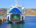 Vehicle ferry arriving at port, Gozo Channel Line Ferries, Mgarr ferry terminal, Gozo, Malta
