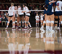 STANFORD, CA - December 1, 2018: Jenna Gray, Kathryn Plummer, Tami Alade, Audriana Fitzmorris, Meghan McClure at Maples Pavilion. The Stanford Cardinal defeated Loyola Marymount 25-20, 25-15, 25-17 in the second round of the NCAA tournament.