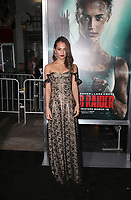 HOLLYWOOD, CA - MARCH 12: Alicia Vikander, at The US premiere of Tomb Raider at the TCL Chinese Theatre in Hollywood, California on March 12, 2018. Credit: Faye Sadou/MediaPunch<br /> CAP/MPIFS<br /> &copy;MPIFS/Capital Pictures