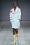 "Model walks runway in an outfit by Hannah Li, for the 2018 Pratt Institute ""Diversiform"" collection Fashion Show at Spring Studios in New York City, on May 3, 2018."