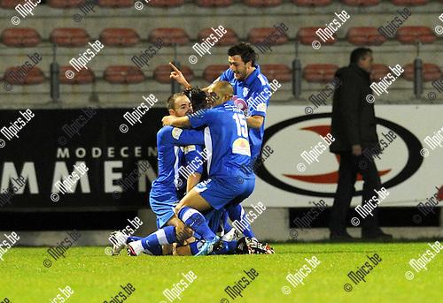 2011-01-19 / voetbal / seizoen 2010-2011 / R. Antwerp FC - Visé / Visé viert de 0-1..Foto: mpics