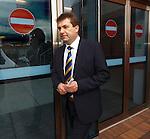 SFL Chief Executive David Longmuir passes a row of no entry signs outside Hampden