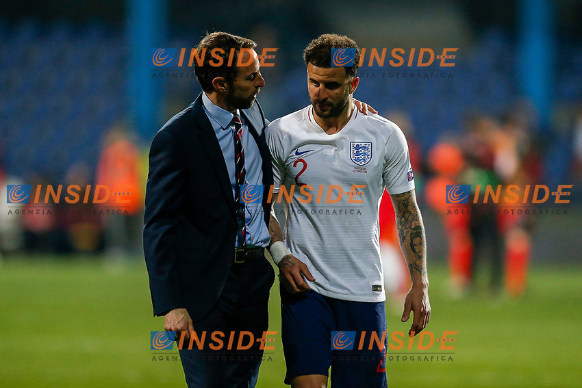 England Manager Gareth Southgate and Kyle Walker of England after the UEFA Euro 2020 Qualifying Group A match  <br /> Podgorica 25-3-2019 <br /> Football Euro2020 Qualification Montenegro - England <br /> Foto Daniel Chesterton / PHC / Insidefoto <br /> ITALY ONLY