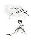 Beautiful thoughtful geisha sitting under sakura branch in the moonlight artistic oriental style illustration, Japanese Zen Sumi-e painting isolated on white background