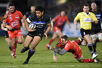 Ben Tapuai of Bath Rugby gets past Chris Ashton of RC Toulon. European Rugby Champions Cup match, between Bath Rugby and RC Toulon on December 16, 2017 at the Recreation Ground in Bath, England. Photo by: Patrick Khachfe / Onside Images