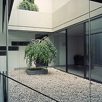 The walls surrounding the courtyard are constructed from clear glass allowing maxmum light into the apartment