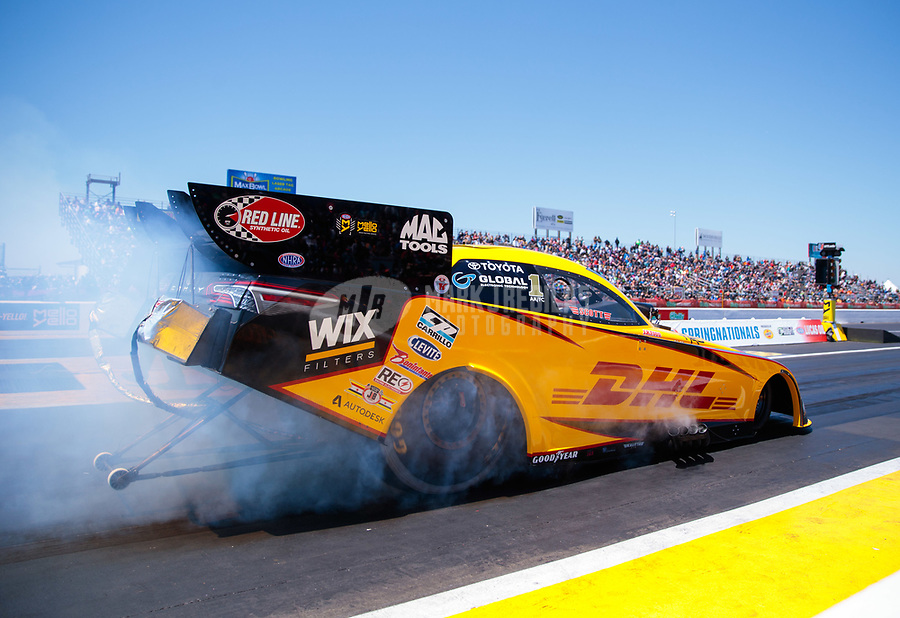 Apr 14, 2019; Baytown, TX, USA; NHRA funny car driver J.R. Todd during the Springnationals at Houston Raceway Park. Mandatory Credit: Mark J. Rebilas-USA TODAY Sports