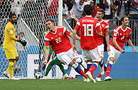 celebrate the goal, Torjubel zum 3:0 von Artem Dzyuba (Russland, Russia) - 14.06.2018: Russland vs. Saudi Arabien, Eröffnungsspiel der WM2018, Luzhniki Stadium Moskau