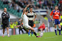 Danny Cipriani of England takes another conversion kick during the match between England and Barbarians at Twickenham Stadium on Sunday 31st May 2015 (Photo by Rob Munro)