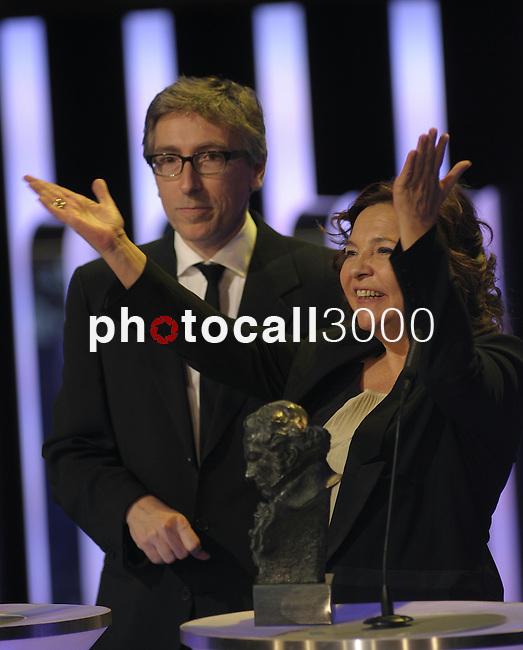 "David Trueba gives a speech after winning the Goya award for best film for the film  ""Vivir es facil con los ojos cerrados"" at the Goya Film Awards ceremony in Madrid on February 9, 2014. Photo by Ivan Espinola/ DyD FOTOGRAFOS-DYDPPA"